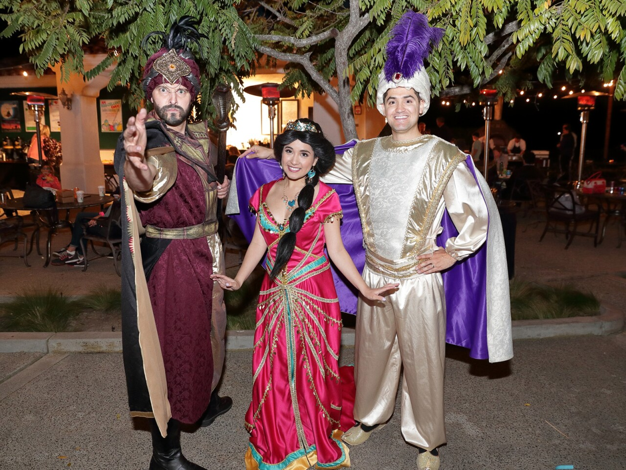 Characters were on hand to pose with the children: Jafar, Jasmine, and Aladdin