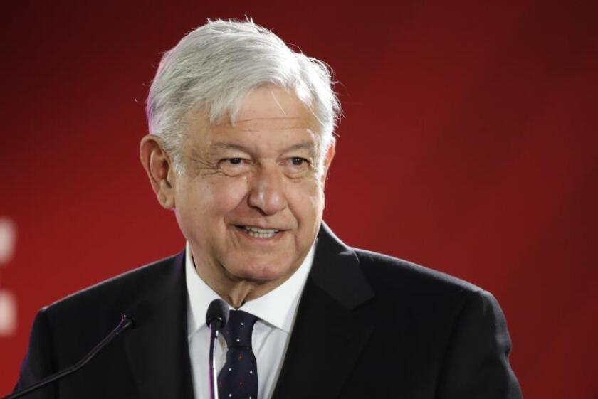 Mexican President Andres Manual Lopez Obrador speaks during a press conference at the National Palace, in Mexico City, Mexico, 7 January 2018. Lopez Obrador announced that the President of the Spanish Government Pedro Sanchez will visit Mexico next 30 January. EPA-EFE/ Jose Mendez