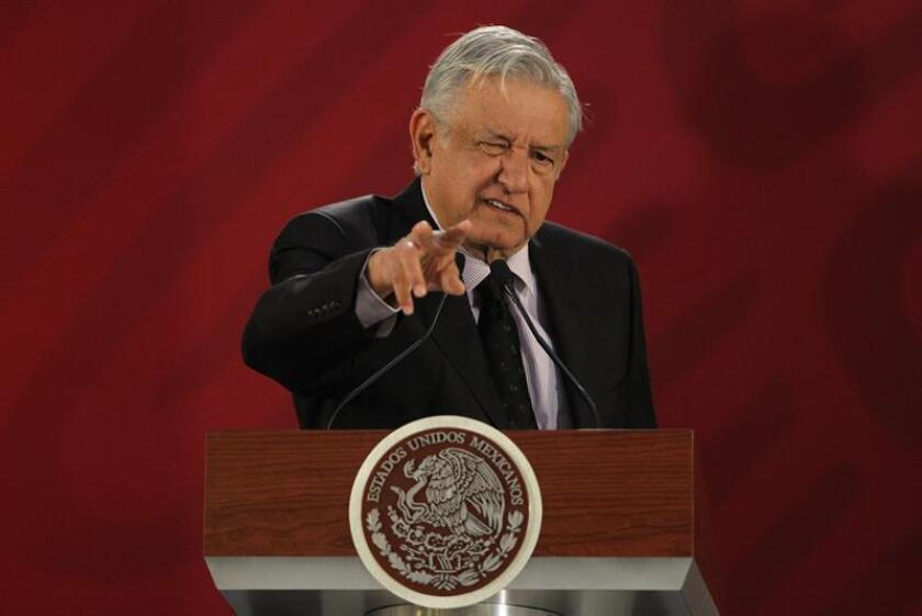 Mexican President Andres Manuel Lopez Obrador tells his morning press conference on Jan. 15, 2019, that the people behind the fuel-theft racket blamed for some $3.4 billion in losses last year continue to damage pipelines. EFE-EPA/Mario Guzman