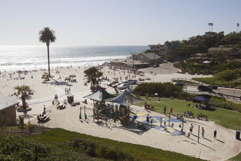 Moonlight Beach in Encinitas has been remodeled. A new concessions and rental area are some of the new features. An overview of the playground area looking to the beach access.