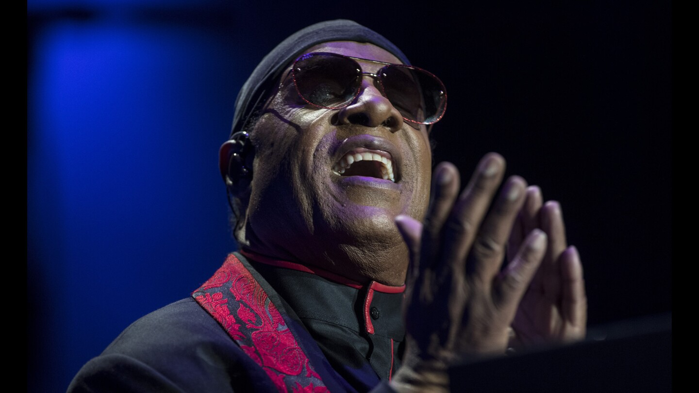 Stevie Wonder on stage during his House Full of Toys benefit concert at Staples Center in Los Angeles on Dec. 10, 2017.