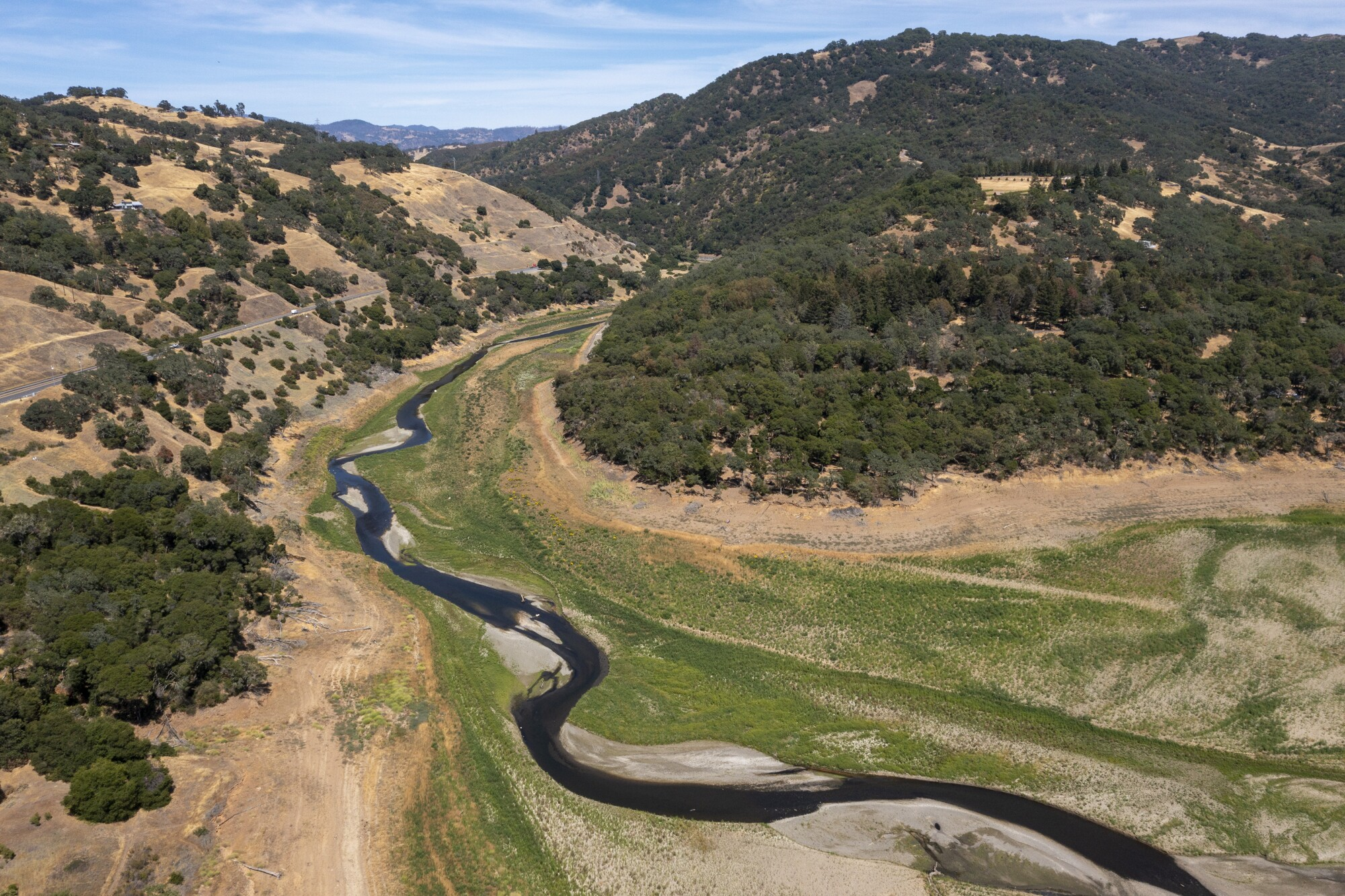 The Russian River, just north of drought-stricken Lake Mendocino in Ukiah, Calif.