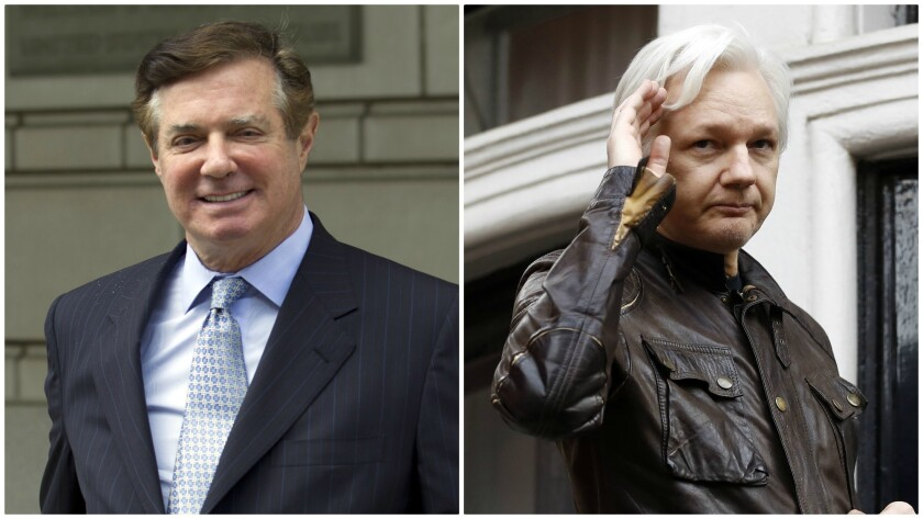 Former Trump campaign chairman Paul Manafort, left, and WikiLeaks founder Julian Assange.