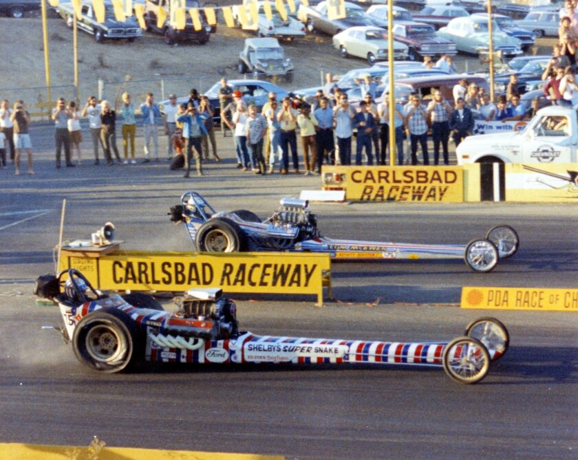 Drag racing at Carlsbad Raceway in 1967. Don Prudhomme (foreground) beat arch-rival Tom McEwen.