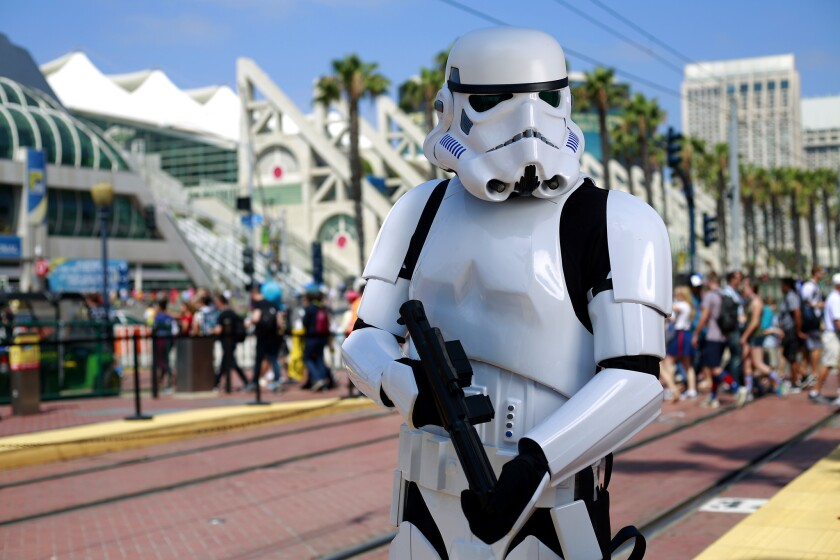 Robert Meyers of Tampa dressed as a Storm Trooper at Comic-Con in San Diego on July 21, 2017. (Photo by K.C. Alfred/The San Diego Union-Tribune)