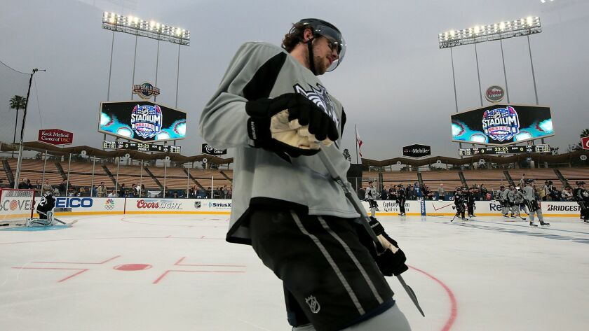 Kings center Anze Kopitar skates during a practice session for the team's outdoor game at Dodger Stadium against the Ducks in 2014.