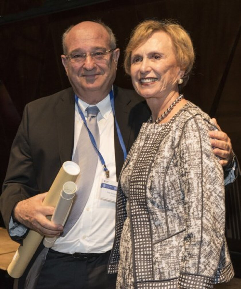 President of the Technion-Israel Institute of Technology, Peretz Lavie, confers an Honorary Fellowship on Sondra Berk during an awards ceremony at the campus in Haifa on June 15. Courtesy