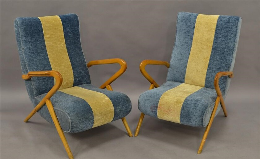 "Downtown pair of armchairs of Italian ""Airline"" Lounge Chairs c. 1950s were $8,800, now $2,800"