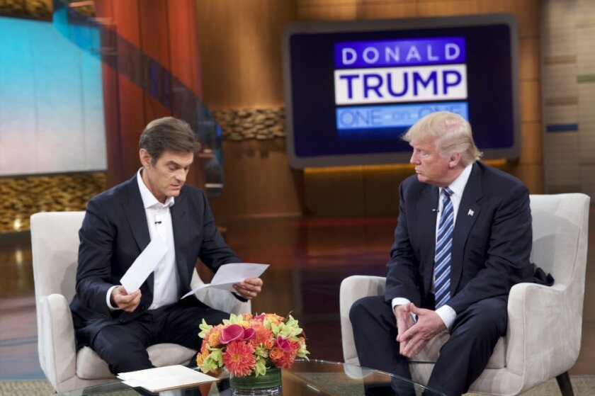 """Donald Trump, right, discusses his health on """"The Dr. Oz Show."""" Trump, who recently revealed he has a testosterone level of 441 (generally above normal for a 70-year-old man), may be motivated by a hormonally-driven impulse to enhance his status, new research suggests."""