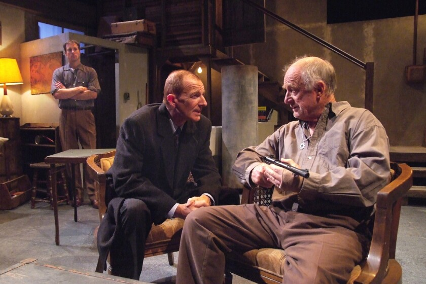 """John Ruby, left, Andrew Connolly and Nick Tate in """"Corktown'57"""" at the Odyssey Theatre."""