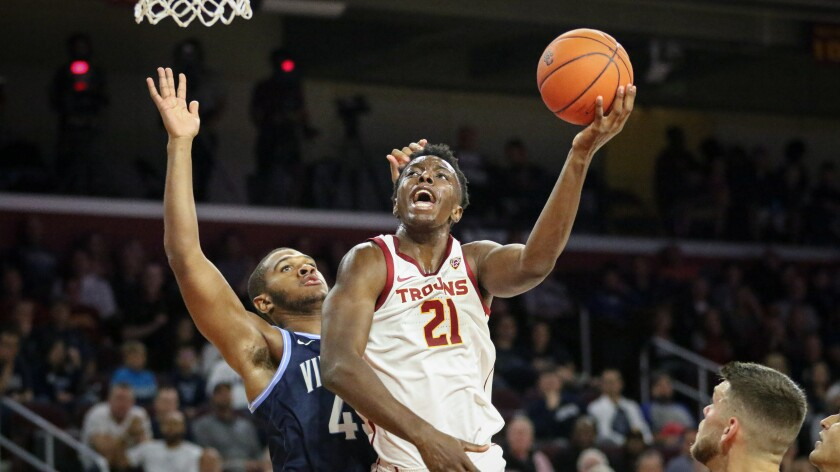 USC's Onyeka Okongwu goes up for a shot during an exhibition game against Villanova.