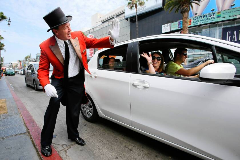 Former Beverly Hills greeter now works Hollywood's grittier streets