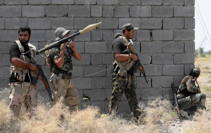 Iraqi Shiite fighters with the Popular Mobilization Units in Saqlawiya on the outskirts of Fallouja on July 15, 2015.