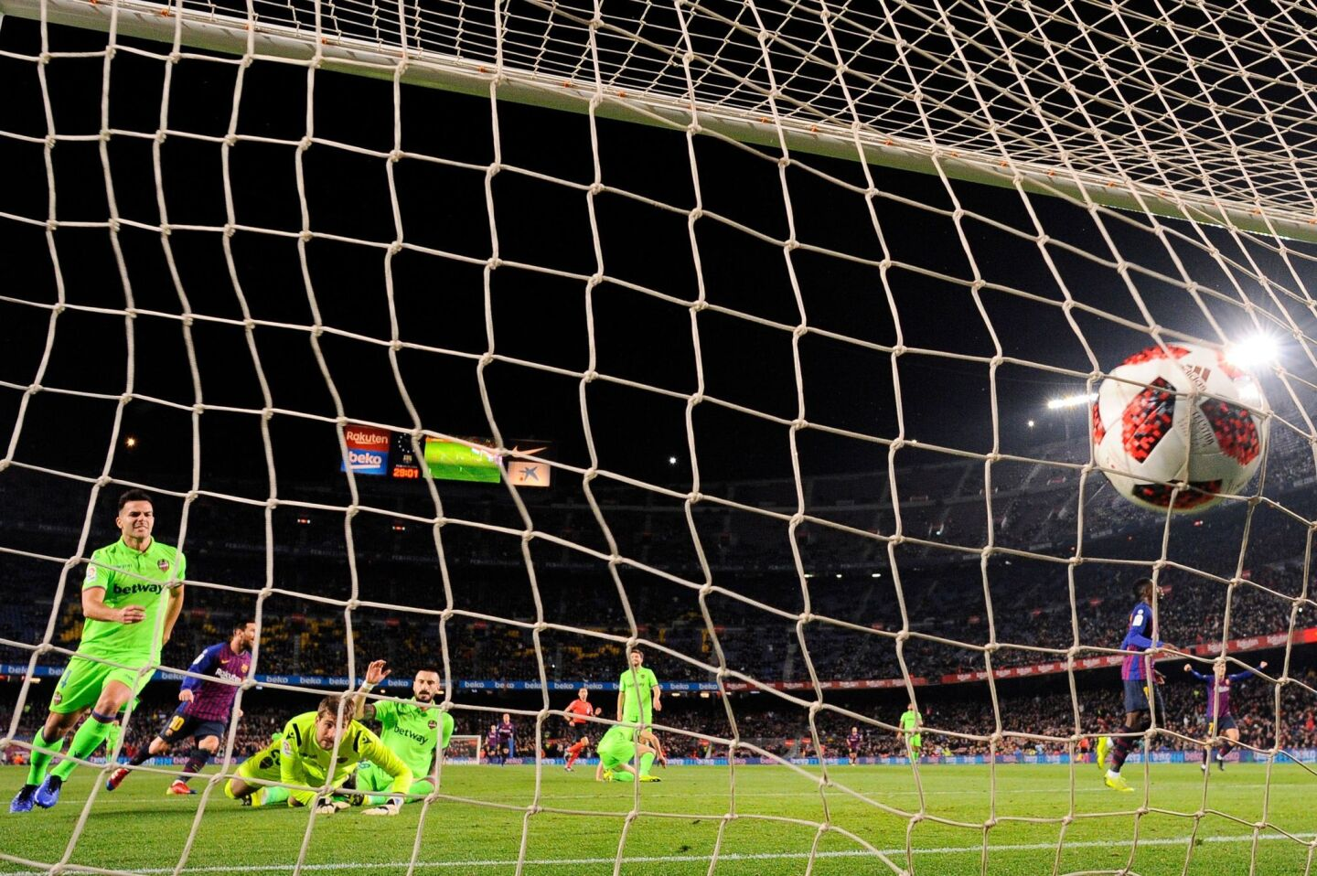 Barcelona's French forward Ousmane Dembele (R) scores a goal during the Spain's Copa del Rey (King's Cup) round of 16 second leg football match between FC Barcelona and Levante UD, at the Camp Nou stadium in Barcelona on January 17, 2019. (Photo by Josep LAGO / AFP)JOSEP LAGO/AFP/Getty Images ** OUTS - ELSENT, FPG, CM - OUTS * NM, PH, VA if sourced by CT, LA or MoD **