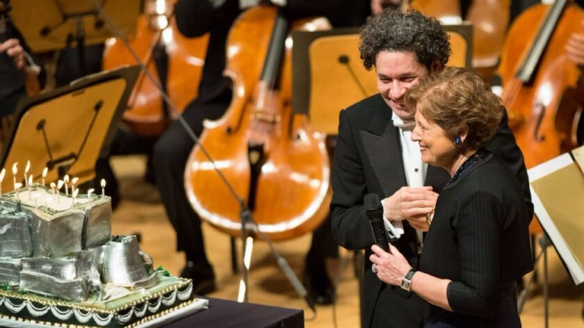 Gustavo Dudamel, left, and Deborah Borda