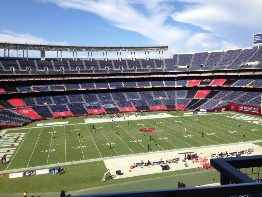 Qualcomm Stadium decked in red and black two hours before kickoff of the Aztecs' season opener against FCS foe Eastern Illinois