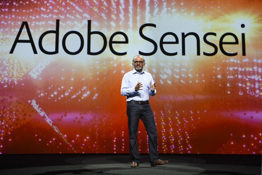 Adobe CEO and President Shantanu Narayen in 2017 at the company's annual MAX conference.