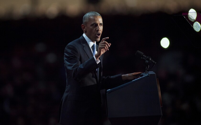 President Barack Obama speaks to supporters during his farewell speech at McCormick Place on January 10, 2017 in Chicago.