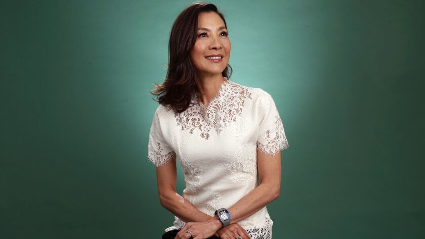 """BEVERLY HILLS, CA-AUGUST 5, 2018: Michelle Yeoh, actress in the film, """"Crazy Rich Asians,"""" is photo"""