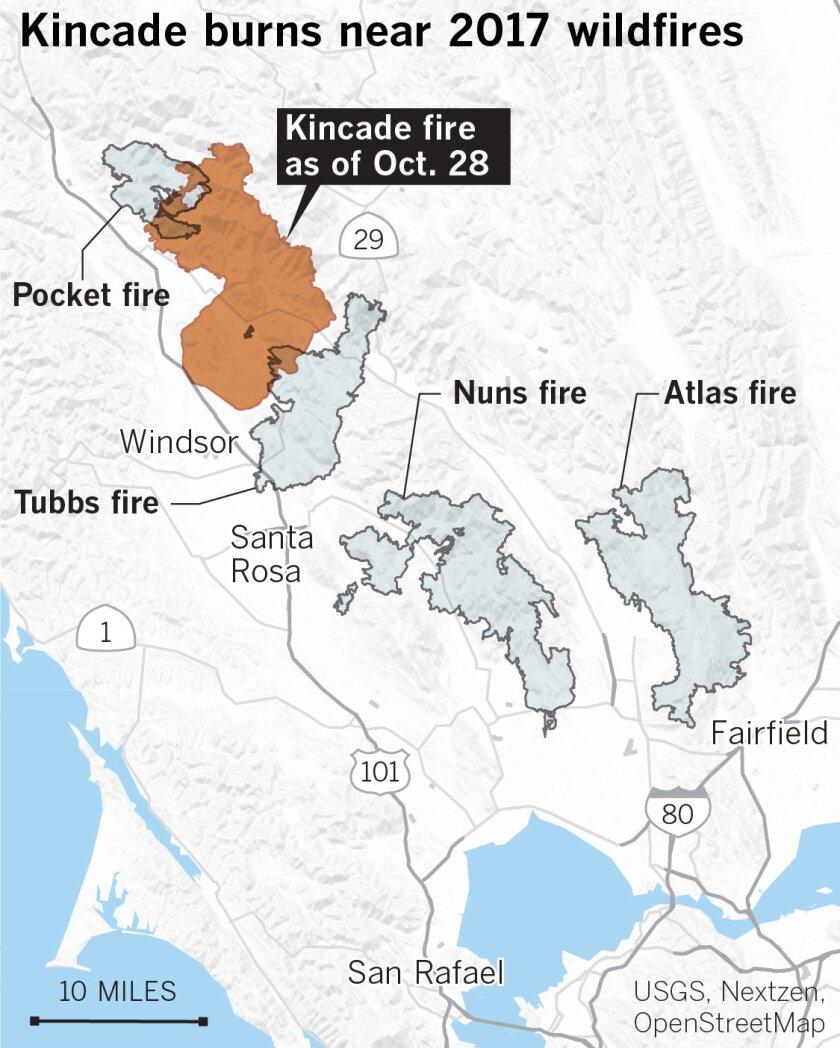 Kincade burns near 2017 wildfires