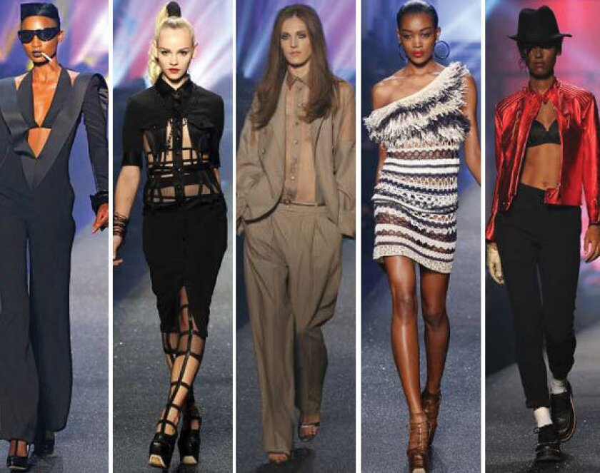 Looks from the Jean Paul Gaultier spring-summer 2013 collection shown during Paris Fashion Week.