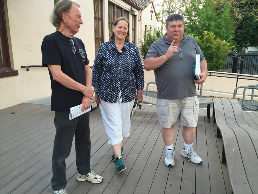 Bruce Wildenrod, left, Lee Heathorn and Mark Zevanove are shown outside Santa Cruz's community center after a two-hour Water School. Their residential development, Paradise Park, was fined $20,000 for exceeding its water allocation.