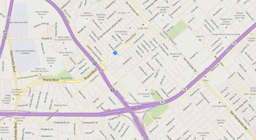Map shows the approximate location of an officer-involved shooting in San Fernando.