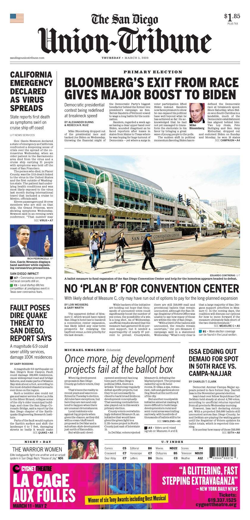 March 5, 2020 front page of The San Diego Union-Tribune