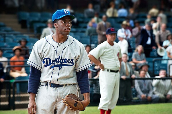 """Chadwick Boseman as Jackie Robinson in a scene from the movie """"42."""""""
