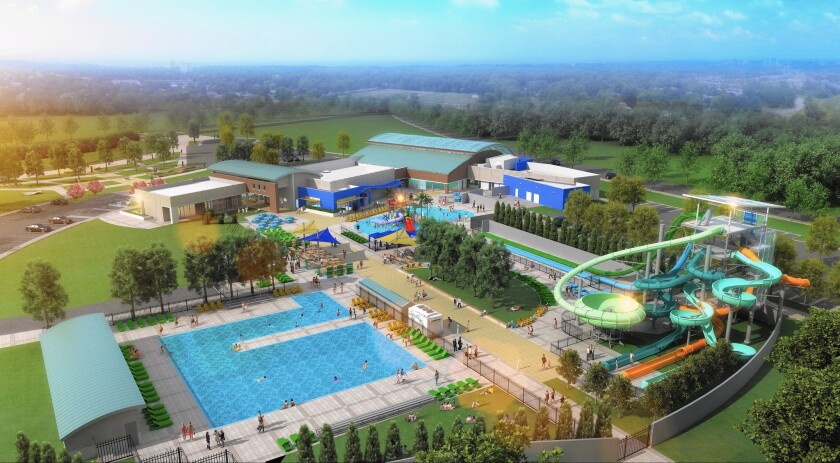 An artist's rendering of the community aquatic center in Dublin, Calif. When it opens in 2017, there will be two pools, a water playground with a fake beach, and six 125-foot water slides shooting off a main tower.