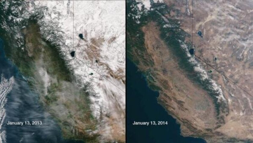 Year-to-year photographs of California and Nevada taken Jan. 13, 2013, and Jan. 13, 2014, show snow levels in the Sierra Nevada mountain range.