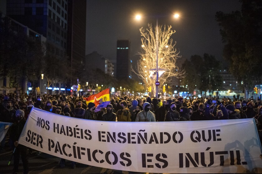 Demonstrators march in Barcelona