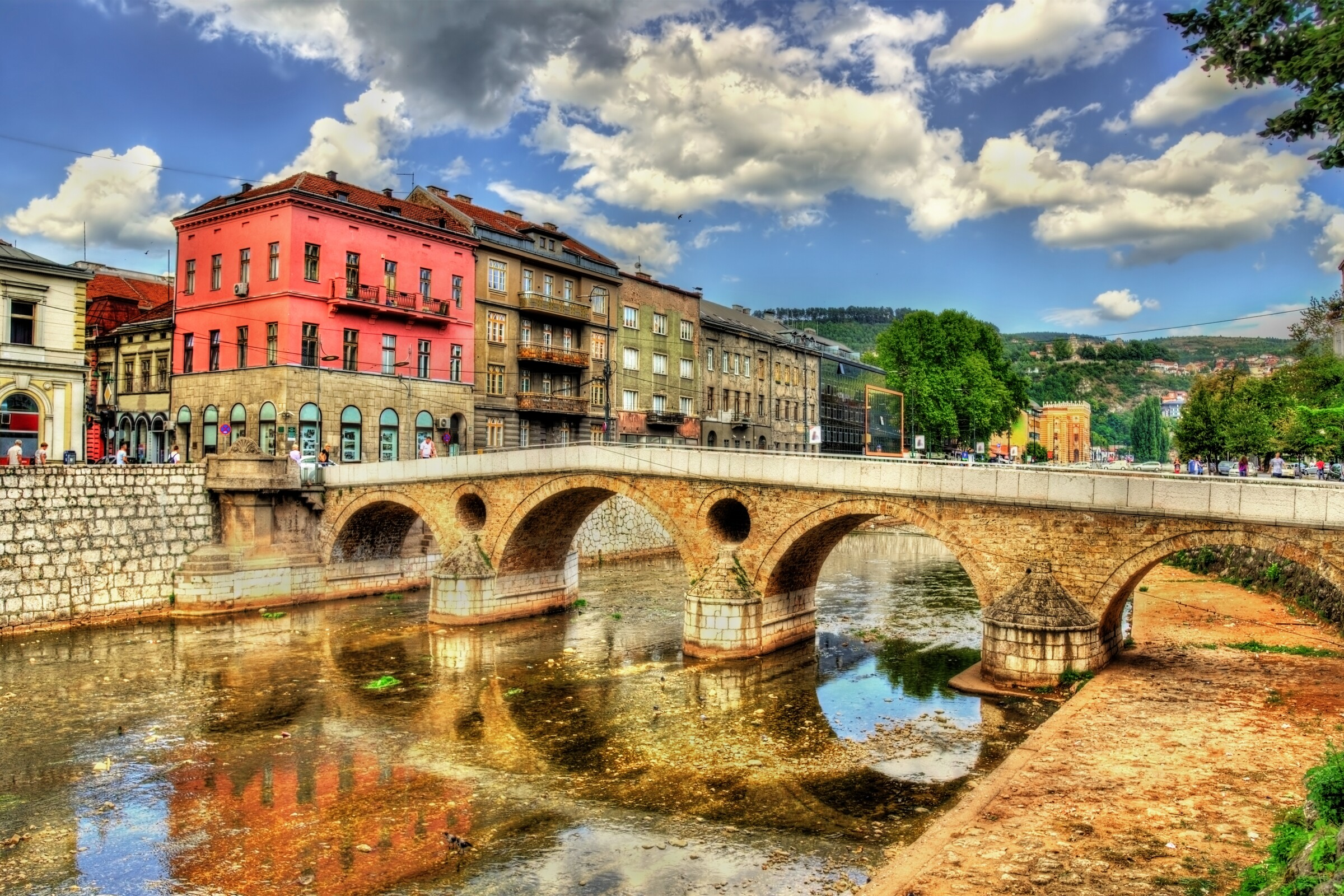 The Latin Bridge is one of many crossings along the Miljacka River in Sarajevo, Bosnia-Herzegovina, whose old quarter has buildings that date back centuries.