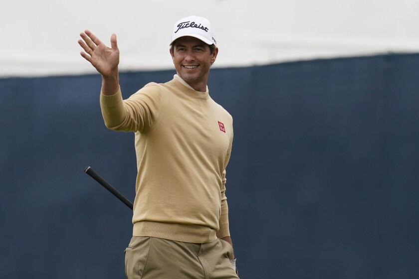 Adam Scott, of Australia, gestures toward the 15th fairway during practice for the PGA Championship golf tournament at TPC Harding Park in San Francisco, Tuesday, Aug. 4, 2020. (AP Photo/Jeff Chiu)