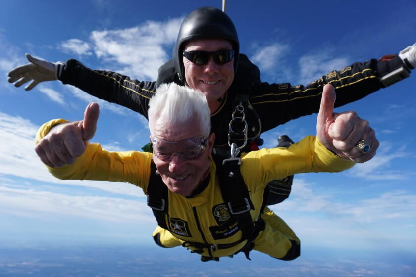 Larry Brooks jumped from 12,500 feet for his upcoming 80th birthday.