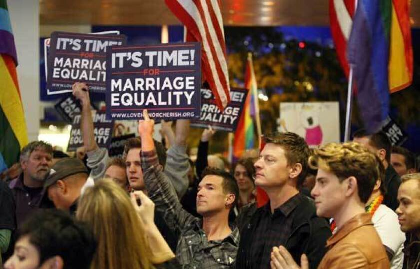 Same-sex marriage supporters rally in West Hollywood in February.