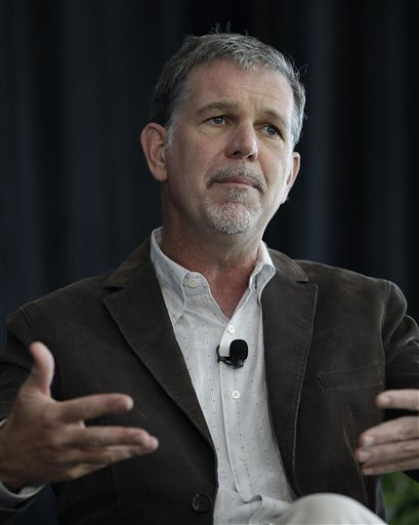 In this Aug. 2, 2011 photo shows Netflix CEO Reed Hastings speaking at a meeting in Palo Alto, Calif. Starz says that it has ended renewal talks with Netflix on providing movies and other content for its on-demand streaming service. The decision announced Thursday deals a big blow to Netflix Inc.'s streaming service at a time when many users are angry about its recent decision to raise its monthly subscription prices. (AP Photo/Paul Sakuma)