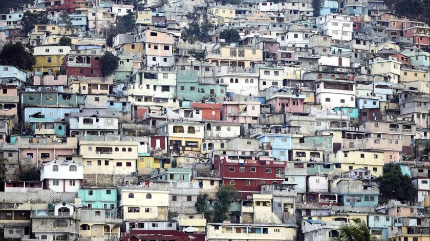 View of the concrete homes on a hillside above Port-au-Prince and south of Petionville. Photo essay about Haitian Chefs in Haiti for the Washington Post magazine