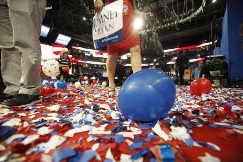 Confetti and balloons covered the floor after the 2012 Republican convention in Tampa, Fla. People get excited about their political allegiances, but a new study suggests devotion to a cause -- in this case, Wikipedia -- can trump party politics.