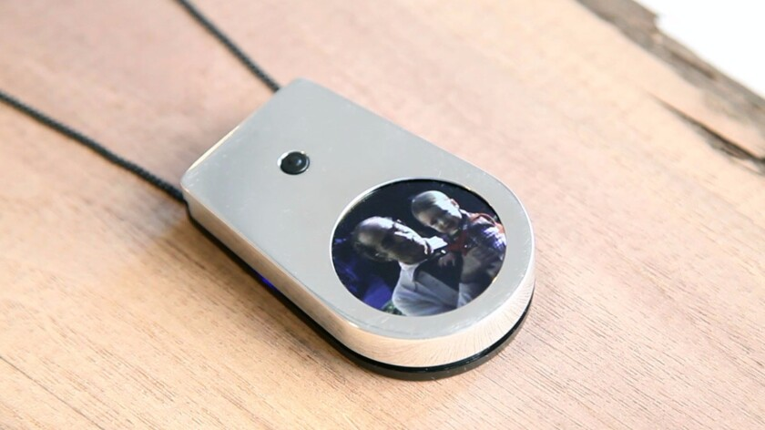 A digital locket created by Barcia-Colombo plays video of loved ones after they are gone.