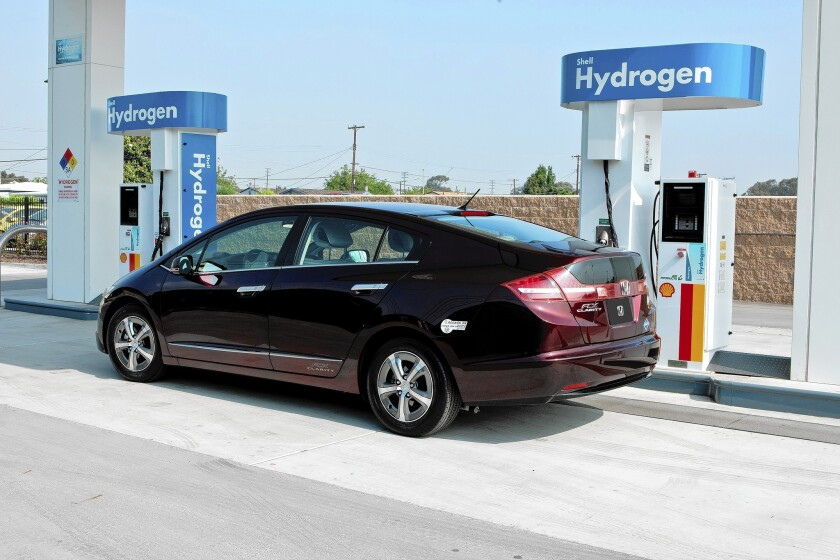 Honda has leased out about two dozen of its Clarity hydrogen vehicles. Above, a Honda FCX Clarity at a refueling station.