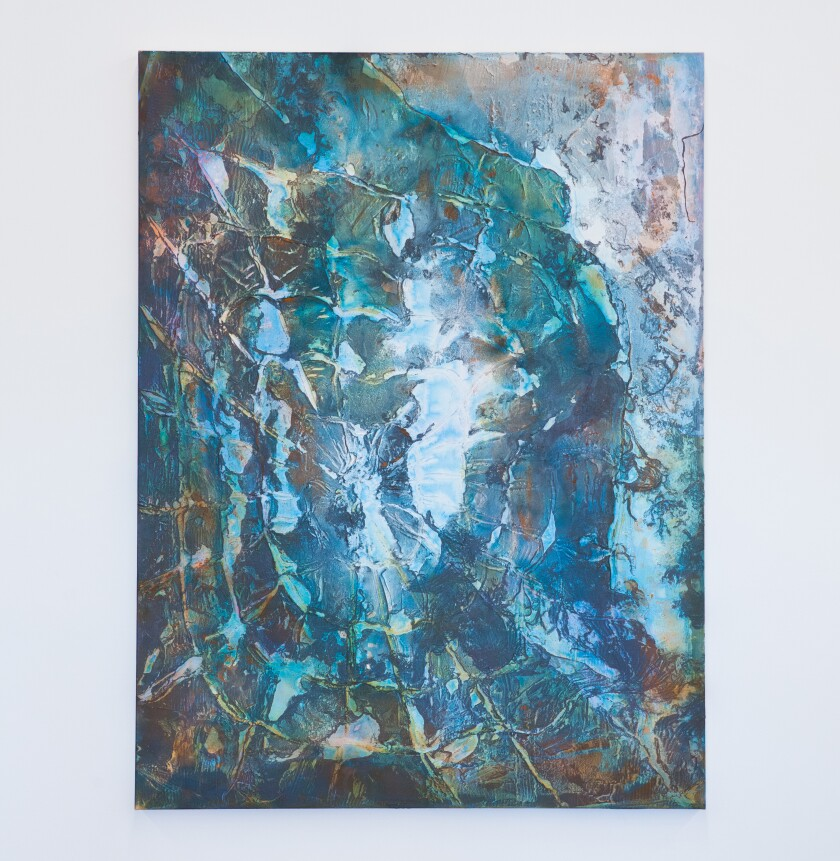 "Fritz Chesnut's ""New Sun (Blue),"" 2019. Acrylic and enamel on canvas, 72 inches by 54 inches."
