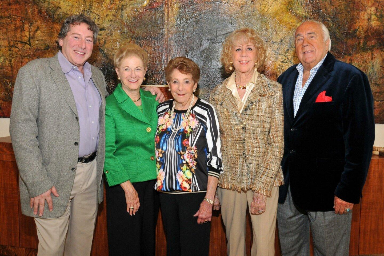 David Ellenstein (NCRT artistic director), Judy White (host), Hannah Step, Jeri and Richard Rovsek (gala chairs)