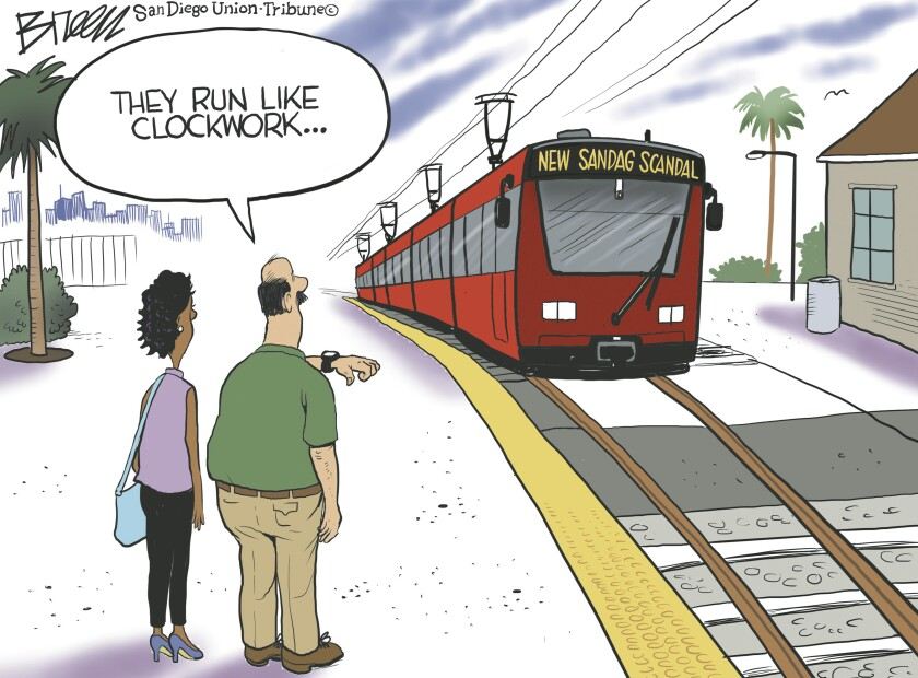 """A man says """"they run like clockwork"""" as he watches a trolley labeled """"new SANDAG scandal"""" pull into the station"""