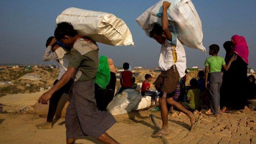 Rohingya Muslims arrive at Balukhali refugee camp in southern Bangladesh in January.