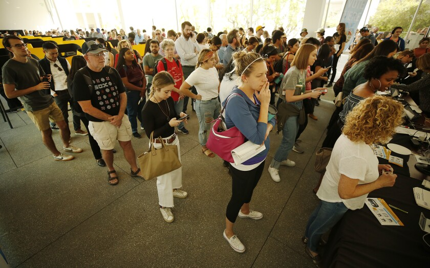 Voters wait in a long line at UCLA Hammer Museum.