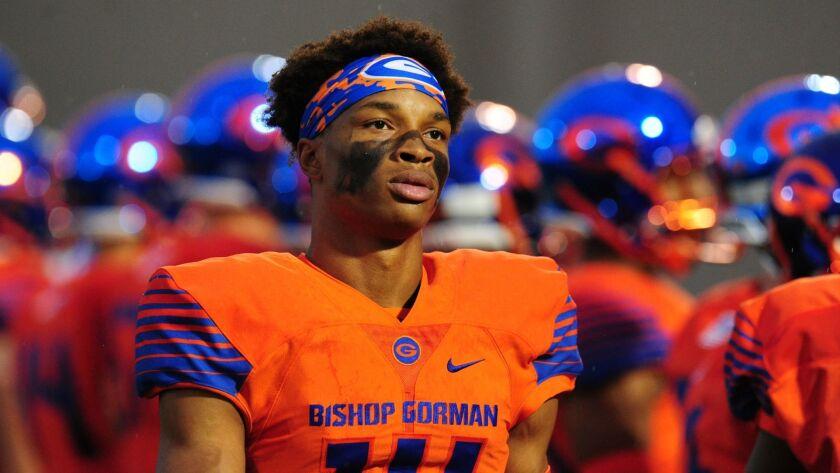 LAS VEGAS, NV - SEPTEMBER 08: Bishop Gorman quarterback Dorian Thompson-Robinson looks on before the