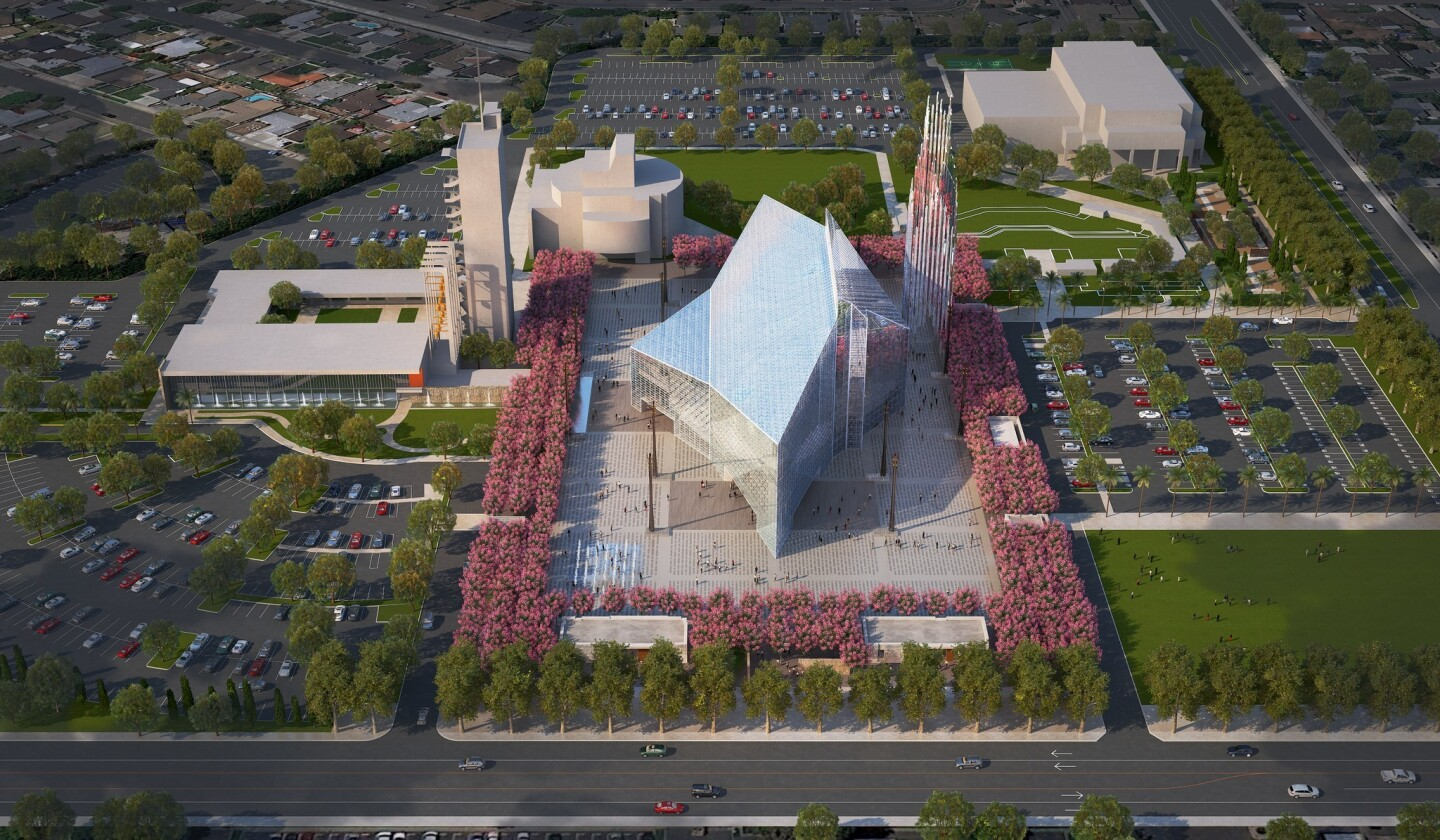 A rendering shows an aerial view of the proposed redesign of Christ Cathedral in Garden Grove.