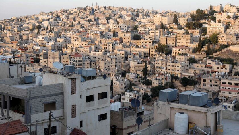 This picture shows a general view of east Amman and the Lifta neighborhood on June 8, 2018.