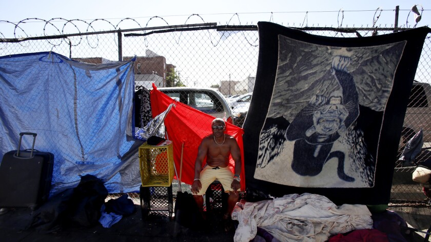 Michael Scott says he has been living on the streets of skid row for two months.